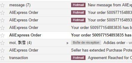 Explication sur les messages email d'AliExpress