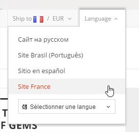 """40e8ddaf6a9c En cliquant sur le lien vous allez tomber sur la page d accueil AliExpress  France. Il est possible de changer la langue en cliquant sur """"Language    Site ..."""