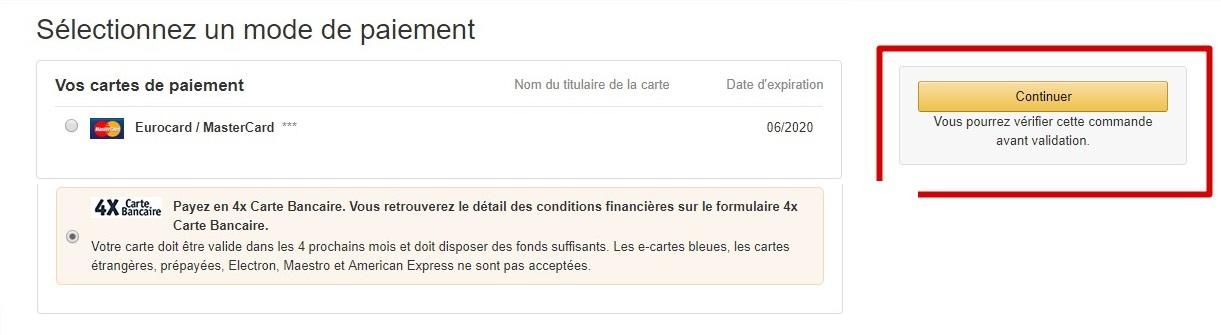 Apres Avoir Selectionne Ce Moyen De Paiement Le Bouton Dachat Amazon Indique Payer En 4x Carte Bancaire Ou Est Personnalise Fonction Votre