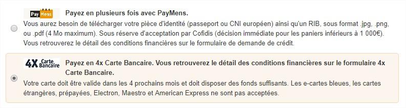 Lorsque Vous Etes Sur Le Menu Paiement Cliquez Payez Avec Paymens Ou Loption Payer En 4 Fois Carte Bancaire