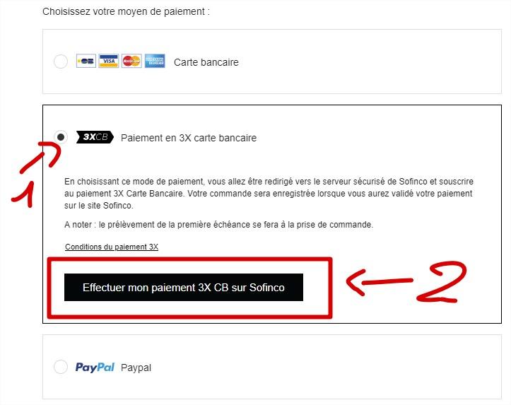 Selectionnez Le Paiement En 3X Carte Bancaire Puis Cliquer Sur Effectuer Mon CB Sonfinco Pour Faire Votre Achat 3 Mensualites