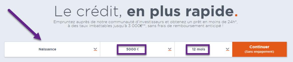 25cf2071ff2 Sélectionnez ensuite le montant de 1000€ à 50 000€ !! Et enfin sur quelle  durée vous voulez étaler le paiement.